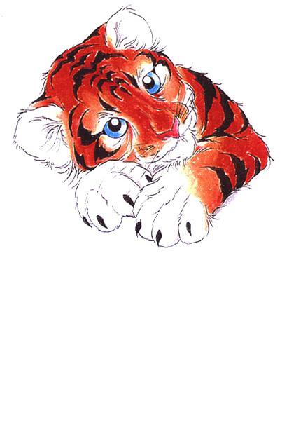 Эскиз тату тигрёнок